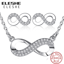 ELESHE Unique Design Women Girls Wedding Bridesmaid Infinity Jewelry Set Crystal 8 Shape Earrings&Necklace Pendant for Women