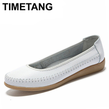 Buy TIMETANG women genuine leather shoes Women Flats ballet flats woman shoes flexible outdoor loafer slip-on boat shoes 1519 for $14.39 in AliExpress store
