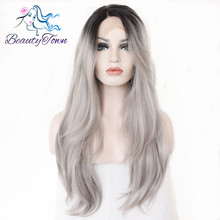 BeautyTown L Lace Part Handmade Black Ombre Grey Heat Resistant Hair Perruque Party Synthetic Lace Front Wig For Women Daily(China)