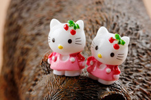 Cat figurine Hello Kitty Pink Figures decorative mini fairy garden animal statue miniature ornaments resin craft TNA045