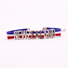 (10Pcs/Lot) Infinity love National Flag New Zealand Bracelet heart Charm leather bracelets & bangles for Women Men jewelry(China)