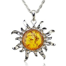 Fashion Hot Baltic Simulated Imitation Amber Honey Sun Lucky Flossy Tibet Silver Pendant Necklace Jewelry L00301