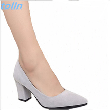spring 2017 new women high heels elegant  lady plaza heel Leather shoes office pump woman pointed  single shoes