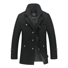 new arrival men's autumn and winter removable quilted lining button wool blends pea coat
