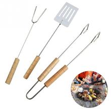 3Pcs/Set BBQ Tools Barbecue Grill Stainless Steel Tongs Skewer Roasting Clamp Fork Shovel