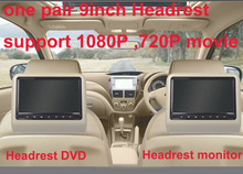 universal one pair 9 inch car headrest DVD player with USB/SD,Bracket,HDMI,32 bits Game,IR,FM,HD screen,1PC DVD+1PC monitor(China)