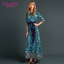women casual dress Hot Sale New Fashion Women Spring Autumn Dress Print Long Dresses Long Sleeve leopard vestidos with Belt(China)