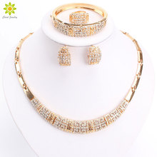 Luxury Crystal Chunky Necklace and Bangle Sets Designer Vintage African Costume Women Wedding Accessories Gold Color jewellery