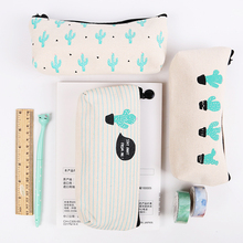 1PC Brief Style Green Cactus Canvas Large Capacity Pencil Bag Storage Pencil Case School Stationery Supplies