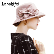 High Quality Wool Fedoras Hat Lady Elegant Cylinder Wool Caps Women Wide Brim Fedora Hat Winter Autumn Bucket Caps Best Present(China)