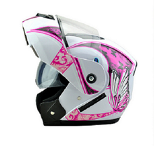New Promotion pink Butterfly Pattern Flip Up Helmet motorcycle electric bicycle girl women style Double Lens Full Half Face