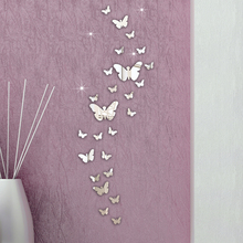 ISHOWTIENDA 30PCS Butterfly Combination 3D Mirror Wall Stickers Home Decoration DIY Household Livingroom Bed Room Decoration