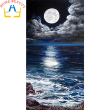 HOME BEAUTY diy diamond painting cross stitch 3d diamond mosaic embroidery kits picture of stones moon sea landscape AB333(China)