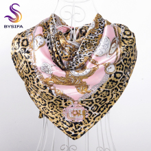 [BYSIFA] Ladies Pink Silk Satin Scarf Accessory Fashion Winter Women Leopard Print Watch Chain Scarves Wraps Muslim Headscarves(China)