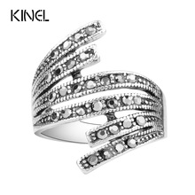 2016 Black Crystal Ring Color Silver Simple Vintage Wedding Rings For Women Cheap Jewelry Wholesale Sale(China)