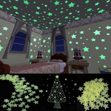 100pcs/lot Star Light Glow In The Dark Stickers Home Wall Decals Light Green Cute Toy Gift For Baby Kids Room Beauty Decoration