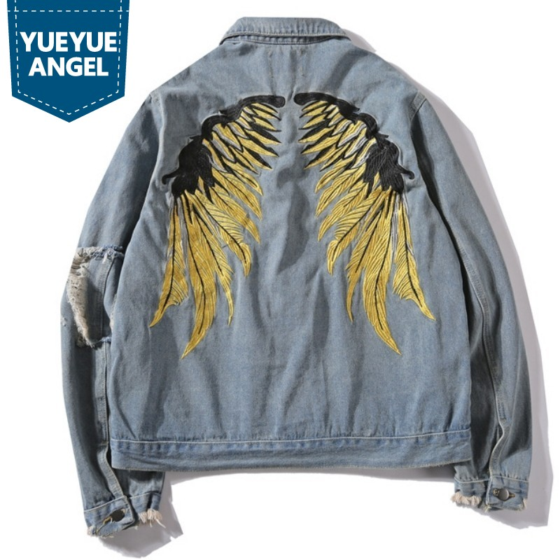 Fashion Frayed Tassel Hip Hop Jeans Coats Men Gold Wing Embroidered Denim Jacket Ripped Hole Cowboy Jackets Streetwear Male New