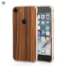Natural Wood Case for iPhone 8 7 6 6s Plus 100% Real Wood Chip Sticker Back Cover +Aluminium Alloy Metal Frame 2 in 1 Phone Case(China)