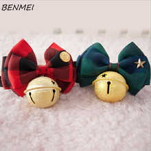 BENMEI Colorful Bow Dog Collar With Bell Ribbon Dog Pet Collar Adjustable Smooth Matte Type Puppy Dog Cat Nylon Collar