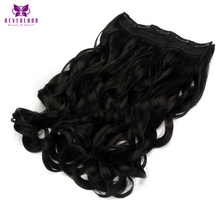 "Neverland 5 Clips 22"" Heat Resistant Synthetic Hair #1B Black Wavy Women Hairpiece Clip in One Piece Hair Extensions"