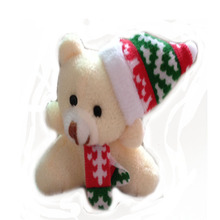20 pcs/lot,H=5.5cm,W=13G, cream color, Plush Christmas bear keychain,Christmas tree decoration,Stuffed bear with Christmas hat t