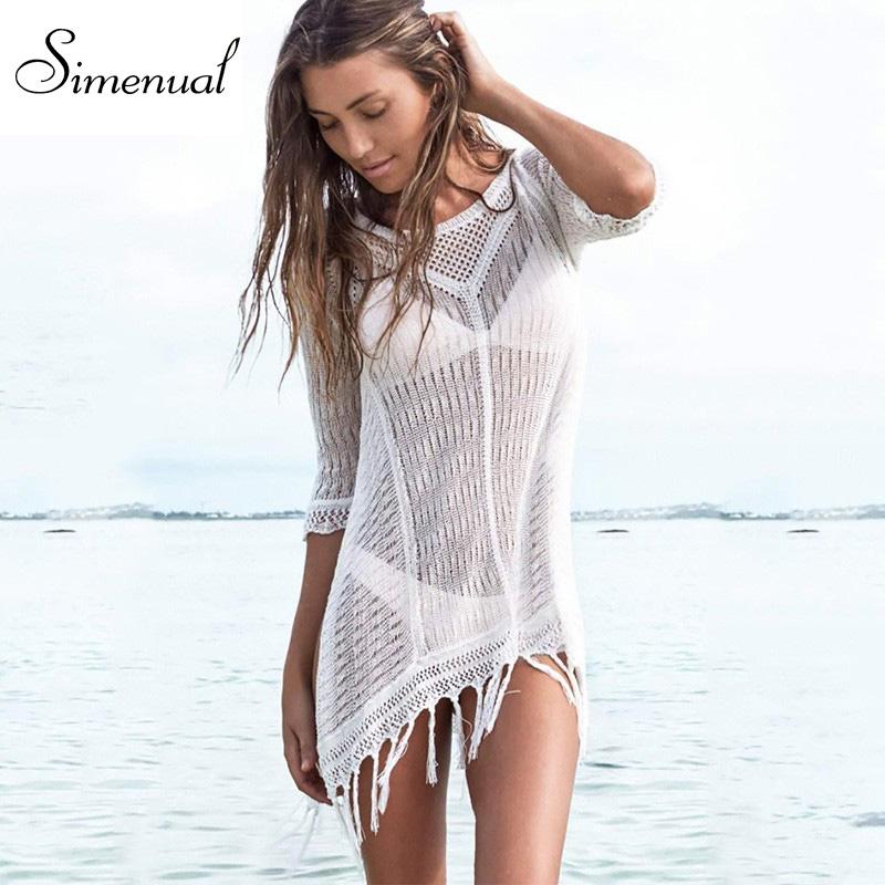 Tassel-sexy-hot-knitted-summer-dress-swimwear-2016-solid-slim-white-beach-output-mini-dresses-ladies