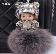 Monchichi Keychain Bunny Sleutelhanger Crystal dolls real fur pom pom Key chain ring holder PomPom Woman Bag pendant Charm