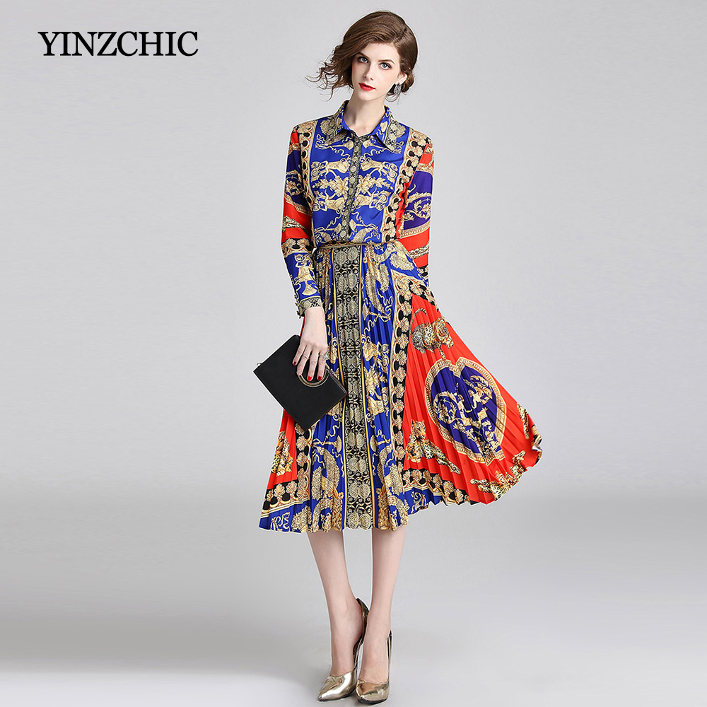 Vintage Printed Blouse + Pleated Skirt Sets For Woman New Fall Female Elegant Party Suits OL Printing Two-Pieces Sets Work