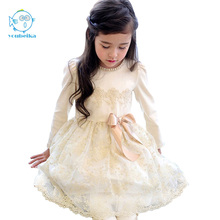 2017 New Spring Korean Style Girls Dress Cute Pears BowKnot Lace Longsleeves Princess Dress For Wedding And Party Kids Clothing(China)