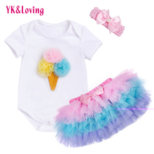 Tutu Baby Birthday Set Summer Short Sleeve Romper Pettiskirt Girls 3 Pcs Clothing Sets 2017 New Arrival