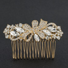 New Gold Tone Rhinestone Crystals Bowknot Hair Comb Wedding Bridal Hairpins Women Hair Accessories Jewelry GT4396GOL(China)