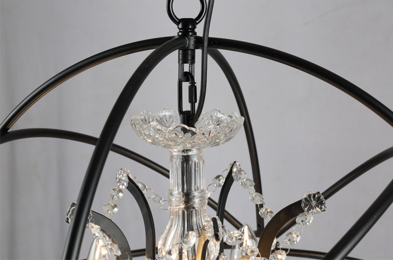 Retro pendant crystal iron ball shape Lamp E14 Nordic industry Vintage Loft american country Art _1Ceiling Lamp-12