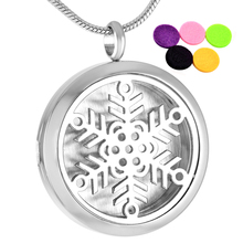 IJP0015 Cheap Sale Stainless Steel Snowflake Perfume Locket Necklace Pendant High Quality  Essential Oil Diffuser Necklace
