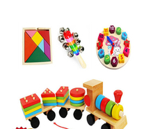 super deal 4 in 1 Wooden  Baby Rattle/orf music toy  Building Clocks And Wooden train blocks Kids Educational Toys 4pcs /set
