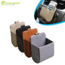 Pushingbest Car Air Vent Phone Storage Boxes Leather Auto Car Vent Outlet Trash Box Car Storage Box Bags Car Phone Holder Bag