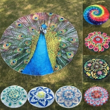Round Beach Shawl Peacock Swallow Goose Mandala Flower Rose Chinese Styles Printing Throw Roundie Beach Scarf Mat For Yoga YG251