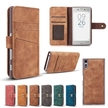 Hot Split Leather Wallet Case For Sony Xperia XZ X Compact  Multi-functional Money Pocket Retro Magnetism Cover with Card Slots