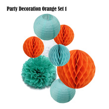 8pcs Orange Set Paper Crafts Halloween Party Supplier Tiffany Hanging Round Ball lanterns Black Tissue Decoration Paper Pom Pom(China)