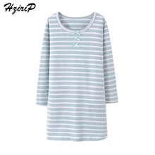 HziriP New Autumn Winter Girls Nightgown Cotton Children Night Dress Cotton Long Sleeved Stripe Bow Kids Sleepwear Home Clothes(China)