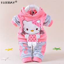 Retail Baby Girls Kitty Clothing Sets Kids Velvet Suits Infant Tracksuits Sports Sets Outwear Cartoon Hoodies Pant Suit 3-24 Mon(China)