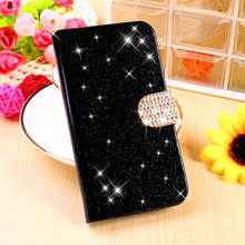 Glitter Bling Cell Phone Covers For Samsung Galaxy SIV Mini Cases I9190 S4 mini GA009 Housing Bag Wallet Shield PU Leather Shell