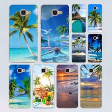 summer Beach Scene at Sunset on sea Palm Tree design transparent clear hard case cover for Samsung Galaxy A3 A5(2016) A7 A7 A7(2