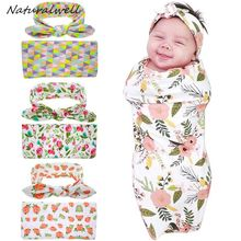Naturalwell Newborn Swaddle Blanket & headwrap Hospital Swaddled Set Floral Swaddle photo prop Top knots Geometric HB601(China)