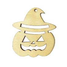 10pcs Wooden Tags Pumpkin Face Shape Wedding Party Easter Halloween Decoration Halloween Hanger Gift Tags Ornament(China)
