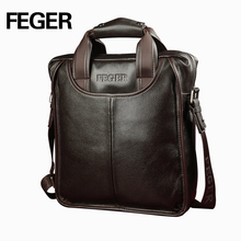 FEGER Classic Solid Business Men Genuine Leather Shoulder Bag Single Real Cowhide Handbag Messenger Bag With Handle