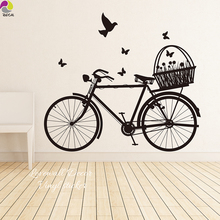 Bike Wall Sticker Bedroom Kids Room BMX Bicycle Ride Butterflies Spring Wall Decal Living Room Baby Nursery Home Decor Vinyl Art(China)
