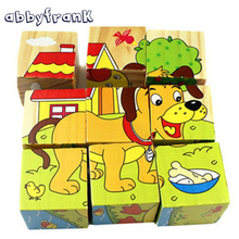Abbyfrank Wooden Jigsaw Forest Animal 9pcs/set 6 Sided 3D Cube Puzzle Traffic Ocean Wisdom Early Education Learning Toys(China)