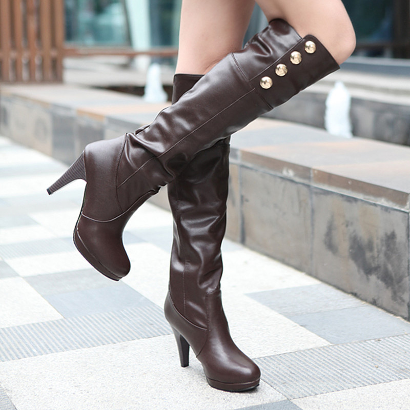 New arrive autumn boots women ladies shoes high heels sexy knee high boots fashion womens boots botas femininas plus size 34-48<br><br>Aliexpress