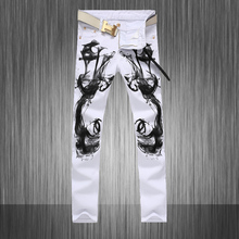 Mens Skinny Stretch White Chinese Stylish Designer Painted Jeans Hommes Slim Fit Represent Clothing ,W28 to W36(China)