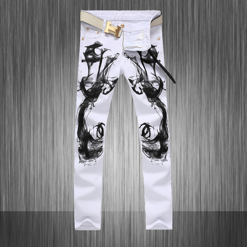 Mens Skinny Stretch White Chinese Stylish Designer Painted Jeans Hommes Slim Fit Represent Clothing ,W28 to W36Îäåæäà è àêñåññóàðû<br><br>